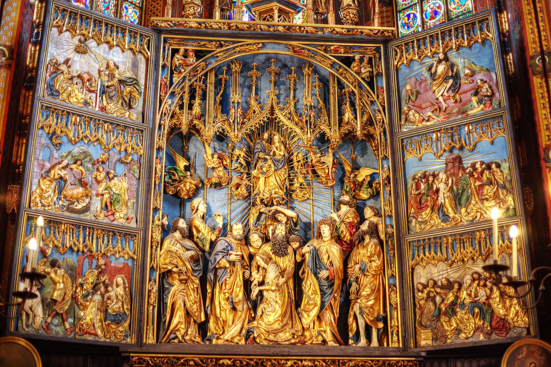 Inside St. Mary's Basilica, Krakow.